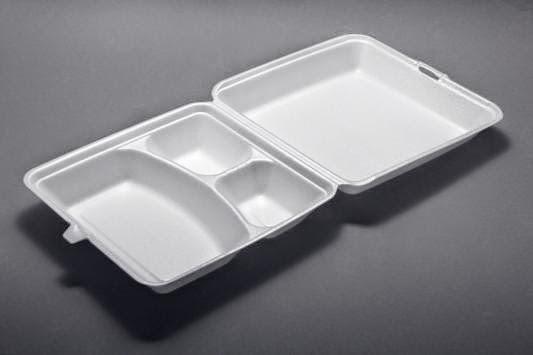Khay xốp 3 ngăn đựng cơm – khay xop 3 ngan   –  kích thước : 16*23-4cm